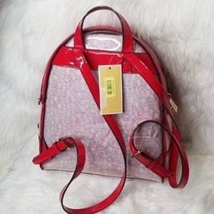 Michael Kors Bags - NWT MICHAEL KORS MK RHEA ZIP BACKPACK CLEAR RED